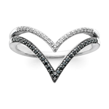jcpenney.com | 1/5 CT. T.W. White & Color-Enhanced Black Diamond 10K White Gold Chevron Ring