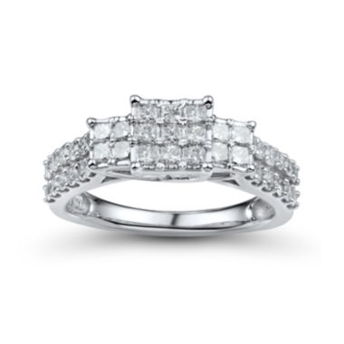 jcpenney.com | 1 CT. T.W. Diamond 10K White Gold Princess-Cut Multi-Top Ring