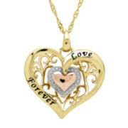 Diamond-Accent 14K Gold Over Sterling Silver Filigree Heart Pendant Necklace