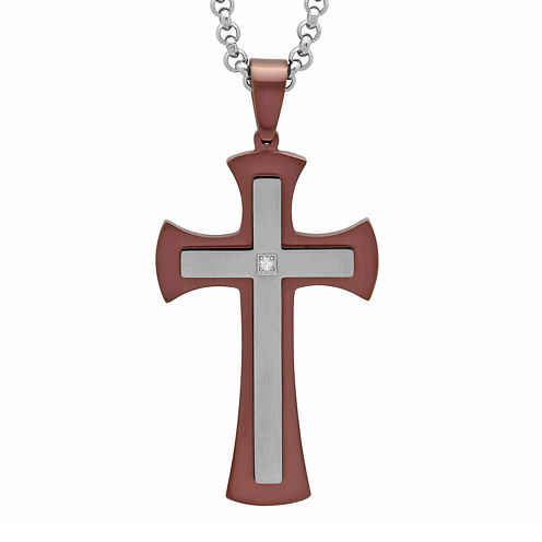 Mens Diamond-Accent Brown Ion-Plated Stainless Steel Stacked Cross Pendant Necklace