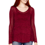 Rewind Long-Sleeve Crochet-Side Tunic