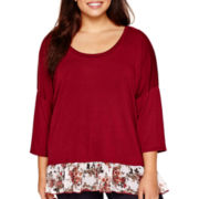 Star Scene 3/4-Sleeve Dual-Texture Top - Plus