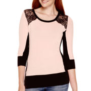 by&by 3/4-Sleeve Lace-Shoulder Sweater