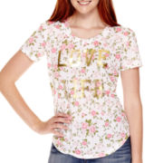 Modern Lux Short-Sleeve Floral Lace-Back T-Shirt