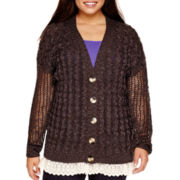 Arizona Long-Sleeve Lace-Bottom Grandpa Cardigan - Juniors Plus