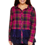 Arizona Long-Sleeve Lace-and-Plaid Shirt - Plus