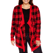 Arizona Long-Sleeve Buffalo Check Cardigan - Plus