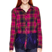 Arizona Long-Sleeve Lace-and-Plaid Shirt