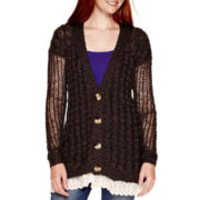 Arizona Long-Sleeve Lace-Bottom Grandpa Cardigan