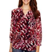 Liz Claiborne® Long-Sleeve Pleated Soft Blouse - Petite