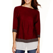 Liz Claiborne® Dolman-Sleeve Layered Top - Petite