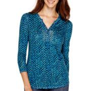Liz Claiborne® 3/4-Sleeve Print Henley Top - Petite