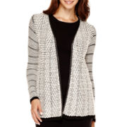 Liz Claiborne® Long-Sleeve Faux-Leather-Trim Cardigan