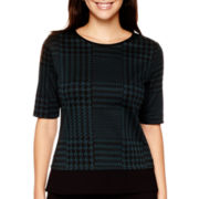 Liz Claiborne® Elbow-Sleeve Glen Plaid Colorblock Knit Top
