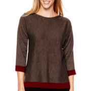 Liz Claiborne® 3/4-Sleeve Layered Top
