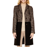 Liz Claiborne® Long-Sleeve Tweed Colorblock Coat