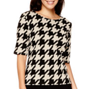 Liz Claiborne® Elbow-Sleeve Houndstooth Knit Top