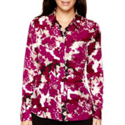 Liz Claiborne® Long-Sleeve Button-Front Print Blouse