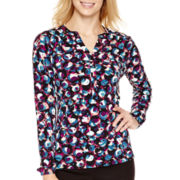 Liz Claiborne® Long-Sleeve Placket Knit Top