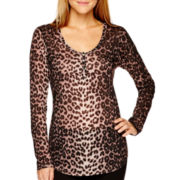 i jeans by Buffalo Long-Sleeve Leopard Print Top