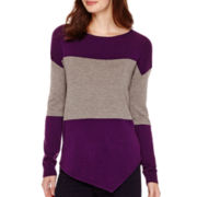 a.n.a® Long-Sleeve Asymmetrical Striped Sweater