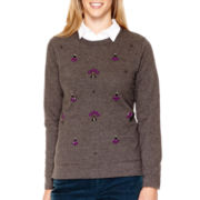 St. John's Bay® Long-Sleeve Embellished Sweatshirt