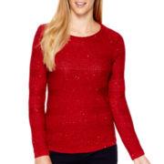 St. John's Bay® Long-Sleeve Sequin Sweater - Tall
