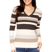 St. John's Bay® Long-Sleeve V-Neck Sweater