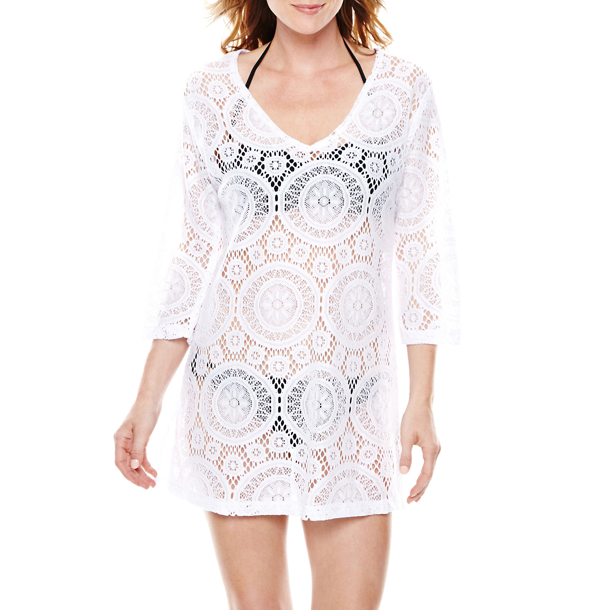 Porto Cruz Medallion Crochet V-Neck Tunic Cover-Up plus size,  plus size fashion plus size appare