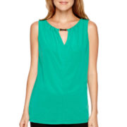 Worthington® Sleeveless Metal-Trim Chiffon Top - Petite