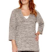Liz Claiborne® 3/4-Sleeve Kangaroo-Pocket Pullover Top - Plus