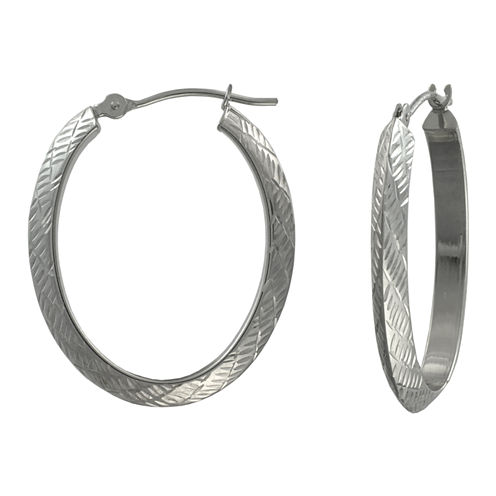 14K Gold Oval Diamond-Cut Hoop Earrings