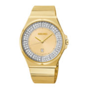 Seiko® Matrix Womens Gold-Tone Crystal-Accent Watch