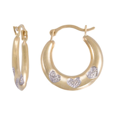jcpenney.com | Two-Tone Heart-Etched Hoop Earrings
