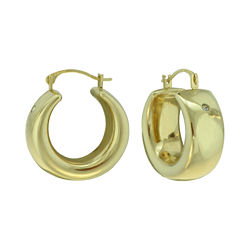 14K Yellow Gold Over Resin Band Hoop Earrings