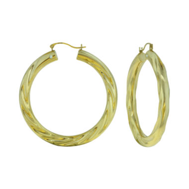 jcpenney.com | Prestige Gold™ 14K Yellow Gold Over Resin Twist Hoop Earrings