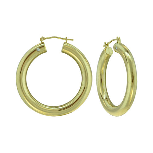 Prestige Gold™ 14K Yellow Gold Over Resin Round Hoop Earrings
