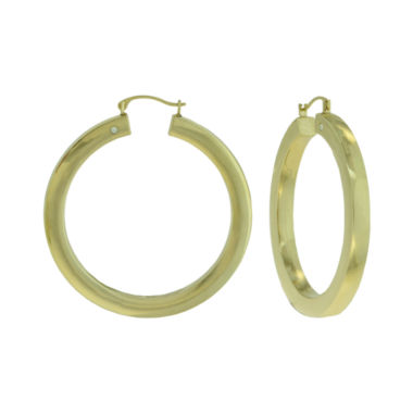 jcpenney.com | Prestige Gold™ 14K Yellow Gold Over Resin Square-Edge Hoop Earrings