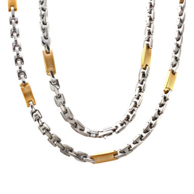 jcpenney.com | Mens Two-Tone Stainless Steel Link Necklace