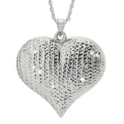 Sterling Silver Diamond-Cut Puffed Heart Pendant Necklace