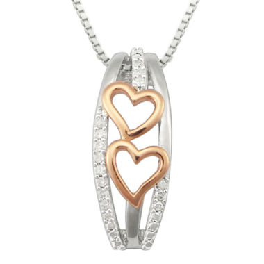 jcpenney.com | 1/10 CT. T.W. Diamond Two-Tone Double-Heart Pendant Necklace