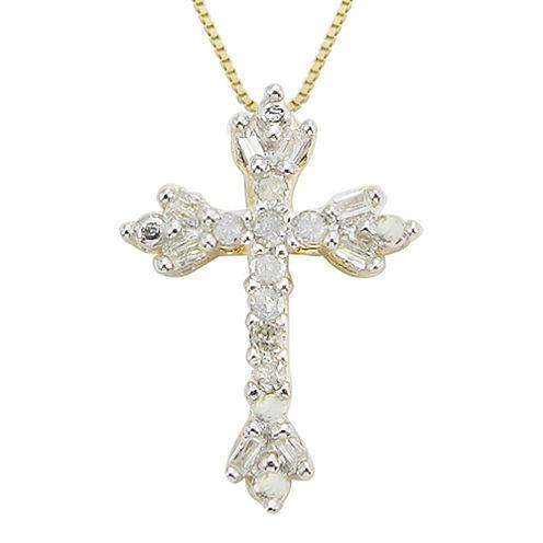 1/10 CT. T.W. Diamond Floral Cross Pendant Necklace