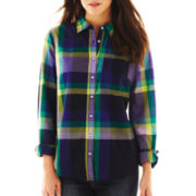 jcp™ Print Button-Front Long-Sleeve Shirt