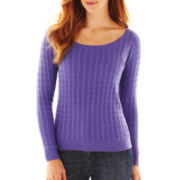jcp™ Scoopneck Cable Sweater - Petite