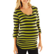 Maternity Striped Ruched Tee