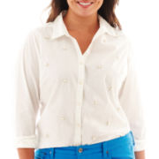 jcp™ Long-Sleeve Embellished Poplin Shirt - Plus