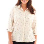 jcp™ Long-Sleeve Relaxed-Fit Print Shirt - Plus