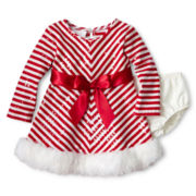 Bonnie Baby Santa Striped Dress - Girls 3-24m