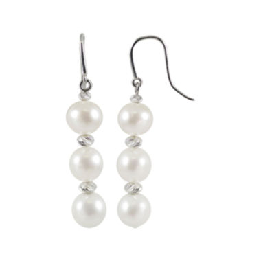 jcpenney.com | Cultured Freshwater Pearl & Brilliance Bead Sterling Silver Triple-Drop Earrings