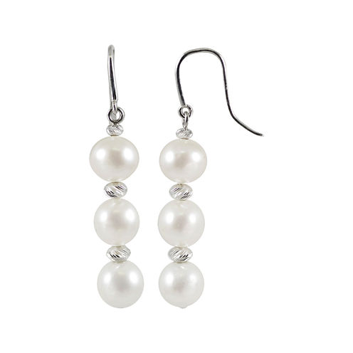 Cultured Freshwater Pearl & Brilliance Bead Sterling Silver Triple-Drop Earrings